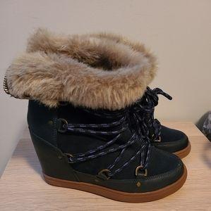 Aldo Navy Suede Wedge boots 7.5